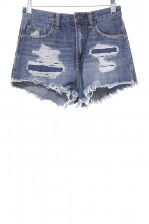 Hollister Jeansshorts stahlblau Destroy-Optik