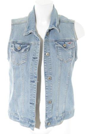 Hollister Gilet en jean bleu azur Look de motard