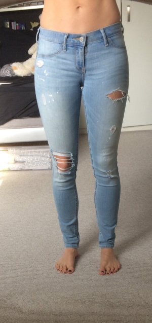 Hollister Jeggings, hellblau destroyed