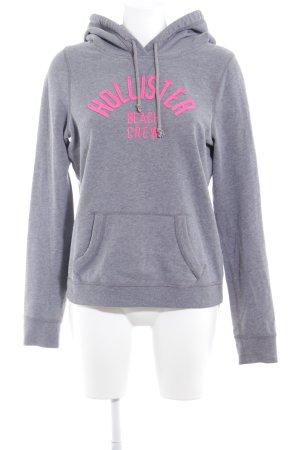 Hollister Kapuzenpullover grau-neonpink Schriftzug gestickt sportlicher Stil