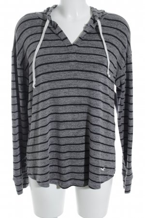 Hollister Hooded Sweater grey-black striped pattern casual look