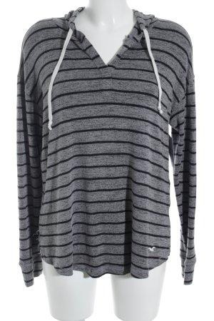Hollister Kapuzenpullover grau-schwarz Streifenmuster Casual-Look