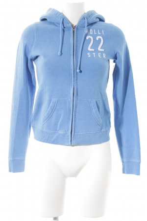 Hollister Kapuzenpullover himmelblau-weiß sportlicher Stil