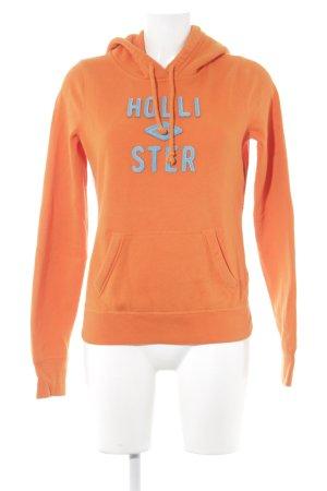 Hollister Kapuzenpullover orange-hellblau Schriftzug gestickt Casual-Look