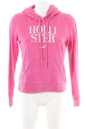 Hollister Maglione con cappuccio rosa caratteri stampati stile casual