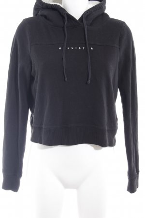 Hollister Capuchon sweater zwart-wolwit casual uitstraling