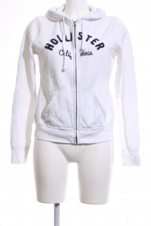 Hollister Kapuzensweatshirt weiß-blau Schriftzug gedruckt Casual-Look