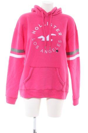 Hollister Kapuzensweatshirt pink-weiß Motivdruck Casual-Look