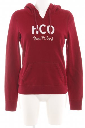 Hollister Hooded Sweatshirt red-white printed lettering casual look