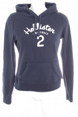 Hollister Kapuzensweatshirt dunkelblau-weiß Schriftzug gestickt