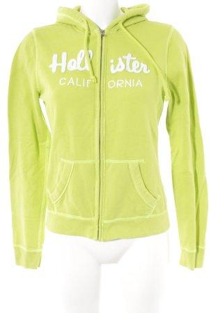 Hollister Kapuzensweatshirt neongrün-weiß Casual-Look