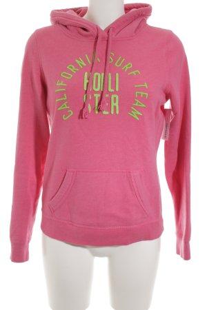 Hollister Sweat à capuche rose-vert fluo Motif de monogramme