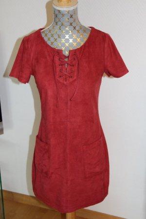 Hollister Robe tunique rouge foncé tissu mixte