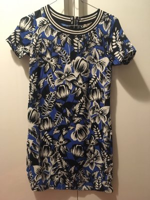 Hollister | Kleid kurze Ärmel | Blumenprint | blau-schwarz-weiß | XS
