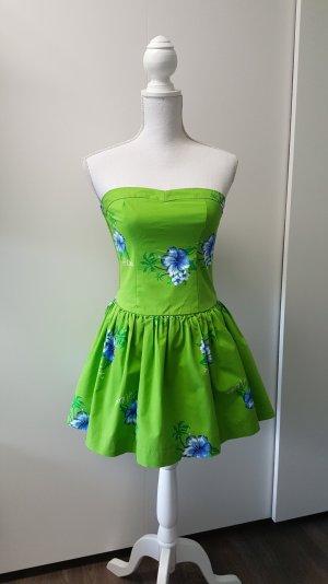 Hollister Kleid S grün/blau/weiß Hibiskus