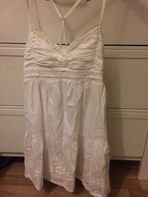 Hollister Kleid Spitzen weiß Boho Rüschen
