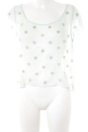 Hollister Kurzarm-Bluse blassgrün Blumenmuster Transparenz-Optik