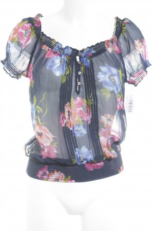 Hollister Kurzarm-Bluse Blumenmuster Transparenz-Optik