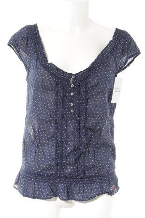 Hollister Kurzarm-Bluse dunkelblau-weiß Kunstmuster Casual-Look