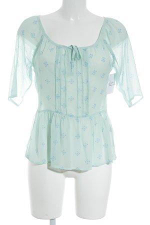 Hollister Kurzarm-Bluse mint-kornblumenblau Mustermix Transparenz-Optik