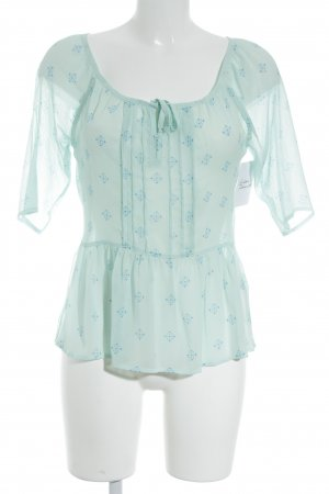 Hollister Short Sleeved Blouse mint-cornflower blue mixed pattern