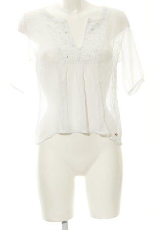 Hollister Blouse à manches courtes blanc style décontracté
