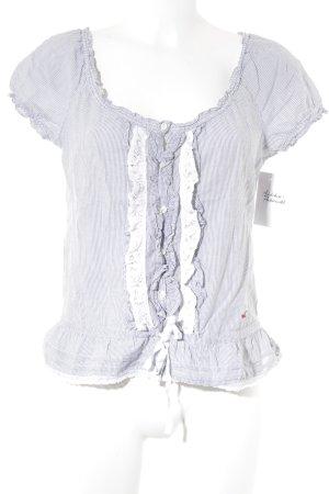 Hollister Kurzarm-Bluse weiß-grau Streifenmuster Casual-Look