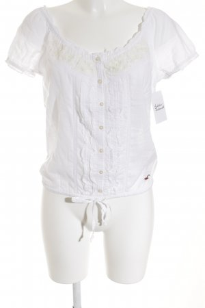 Hollister Kurzarm-Bluse wollweiß-creme Casual-Look