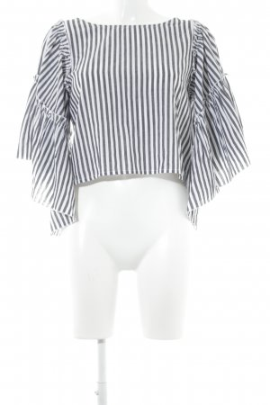 Hollister Langarm-Bluse dunkelgrau-weiß Streifenmuster extravaganter Stil