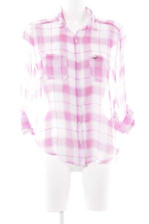 Hollister Blouse à manches longues rose-blanc motif à carreaux