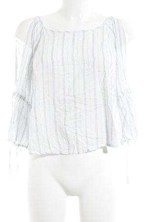 Hollister Blouse à manches longues blanc-bleu azur motif rayé