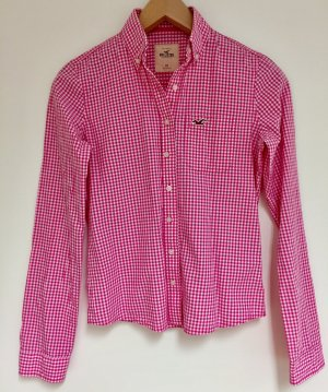 Hollister Langarm-Bluse weiß-magenta Vichykaromuster Casual-Look