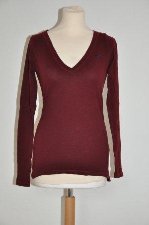 Hollister Langarm shirt dunkel rot (Beere) V Ausschnitt Gr S 36