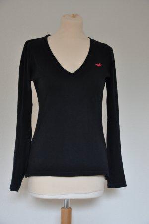 Hollister Langarm shirt schwarz V Ausschnitt Größe S / 36