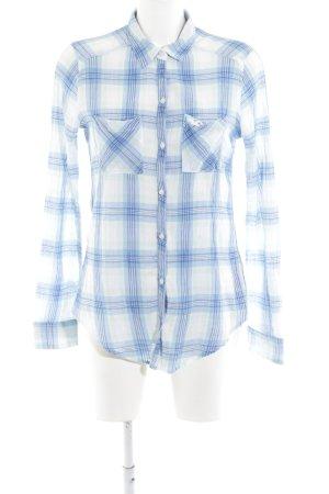 Hollister Langarmhemd weiß-blau Karomuster Casual-Look