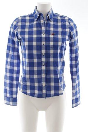 Hollister Langarmhemd blau-weiß Karomuster Casual-Look