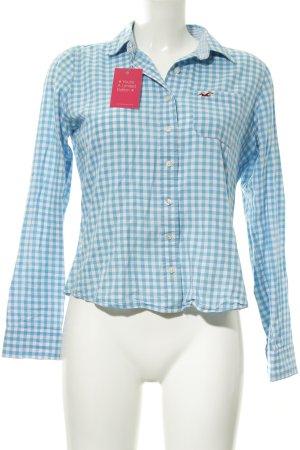 Hollister Langarmhemd hellblau-weiß Karomuster Casual-Look