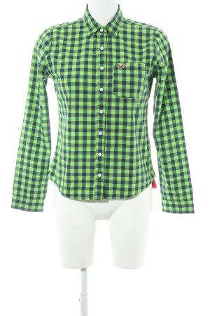 Hollister Langarmhemd neongrün-dunkelblau Karomuster Casual-Look