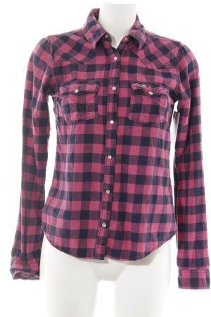 Hollister Shirt met lange mouwen roze-donkerblauw geruite print