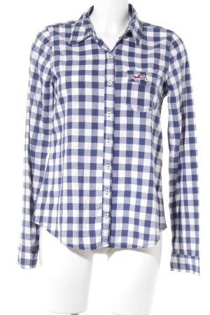 Hollister Langarmhemd weiß-blau Karomuster Boyfriend-Look