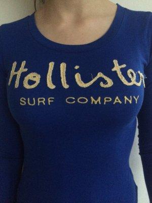 Hollister Langarmshirt azurblau mit Hollister Aufdruck Größe XS