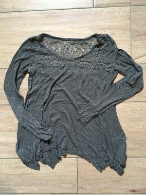 Hollister Langarmshirt mit Spitze Größe S dunkelgrau