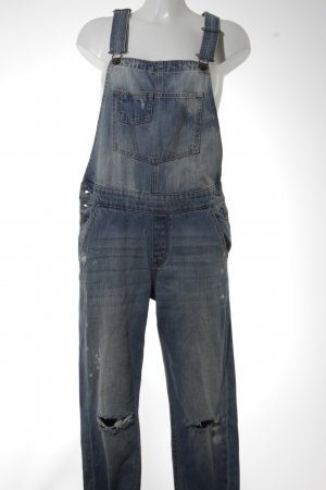 Hollister Dungarees cornflower blue distressed style