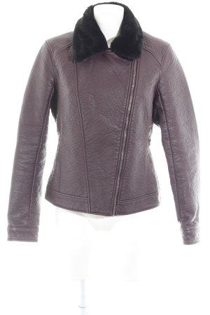 Hollister Lederjacke schwarz-braunviolett Kuschel-Optik