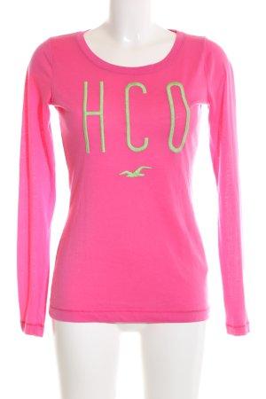 Hollister Longsleeve pink-grün Schriftzug gedruckt Casual-Look