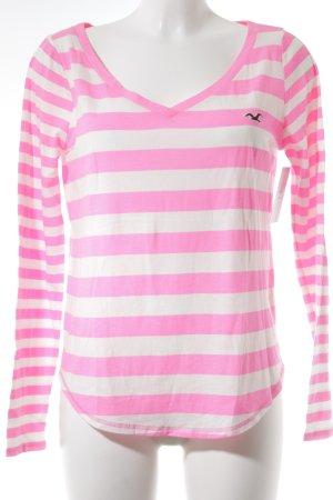 Hollister Longsleeve weiß-pink Streifenmuster Casual-Look
