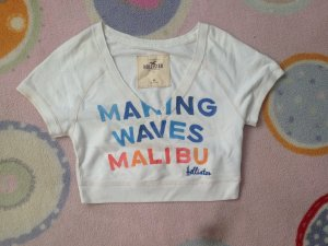 Hollister M top Sport White Blue Cropped Malibu Waves