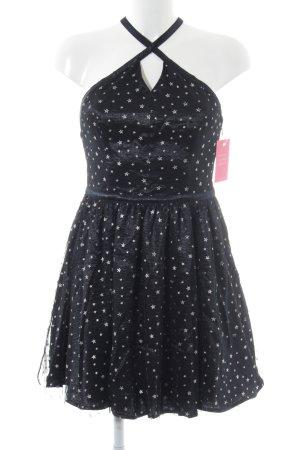 Hollister Minikleid schwarz-silberfarben Sternenmuster Elegant