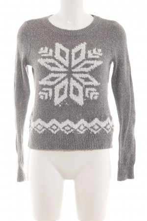 Hollister Norwegian Sweater light grey-white abstract pattern casual look