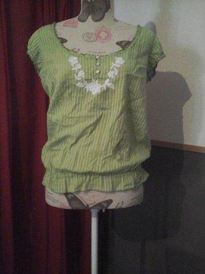 Hollister Oberteil Tunika Shirt grün weiß Hippie Boho Blumen Gr. L